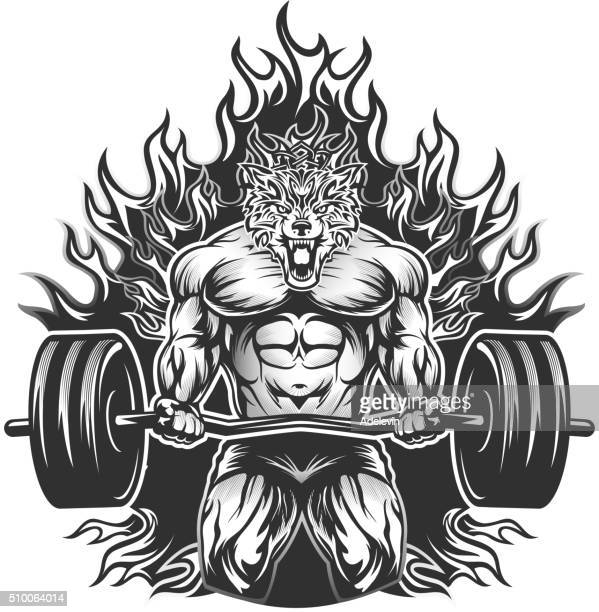 muscular bodybuilding wolf - body building stock illustrations, clip art, cartoons, & icons