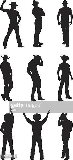 Muscular cowboy posing silhouette