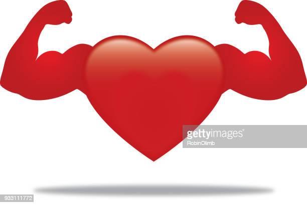 ilustraciones, imágenes clip art, dibujos animados e iconos de stock de icono de corazón muscular - flexionar los músculos