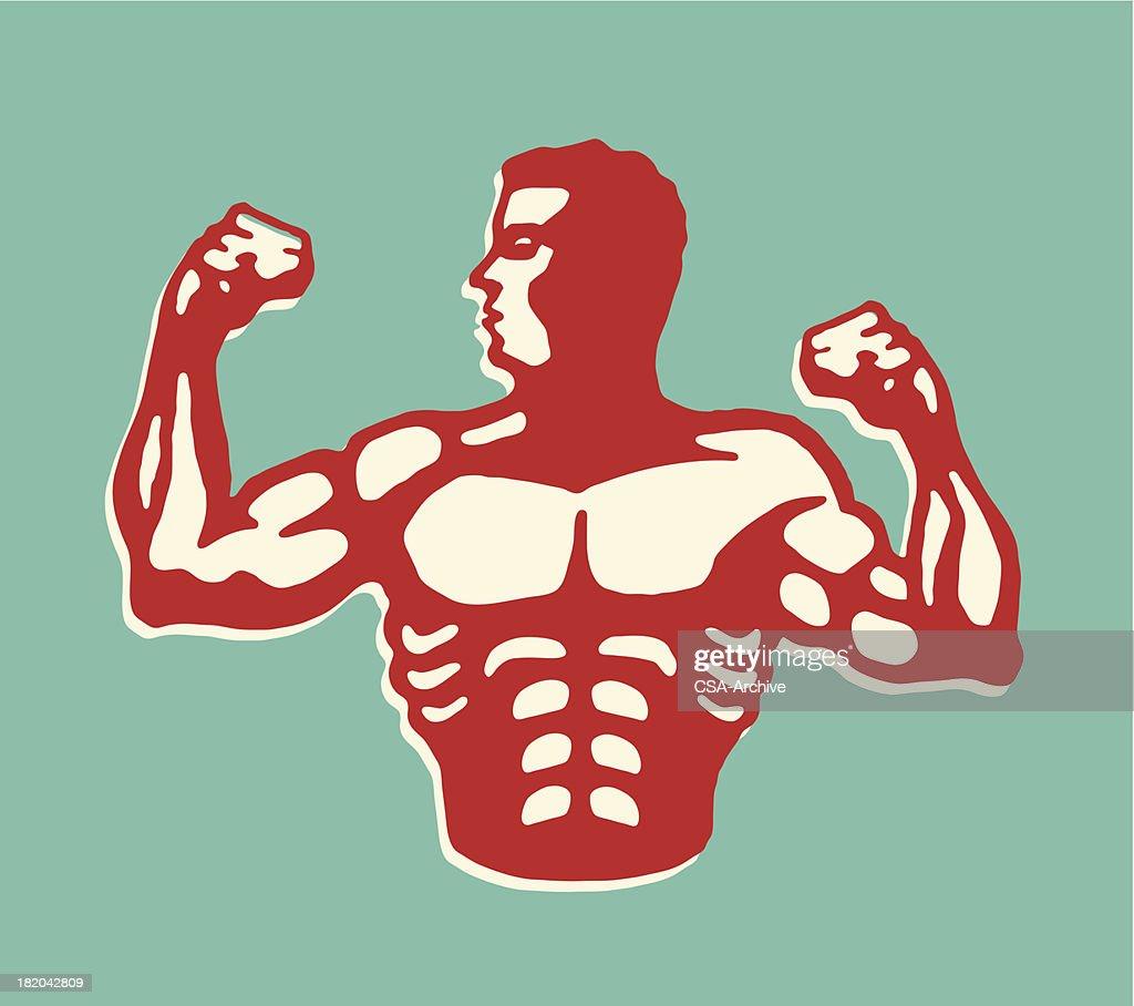 Muscular Man Flexing Biceps