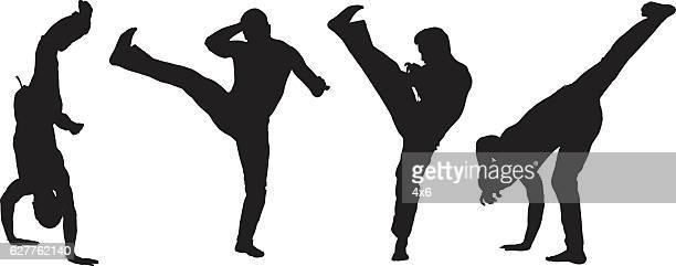 ilustrações de stock, clip art, desenhos animados e ícones de muscular homem em várias acções - capoeira