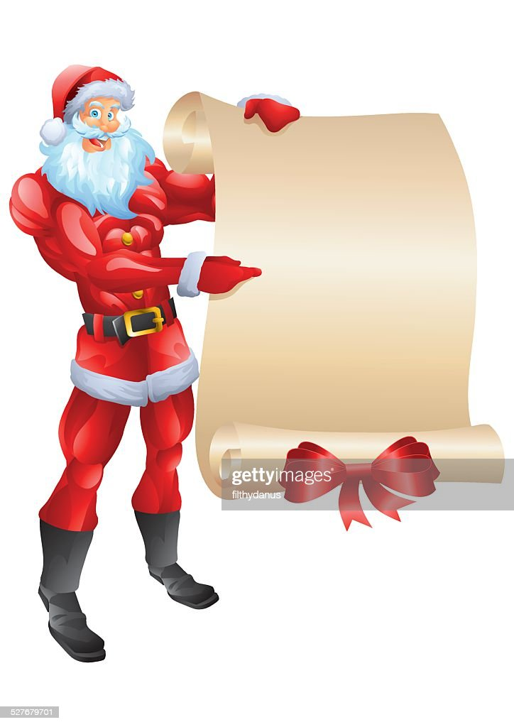 Muscular Santa holding wish list isolated