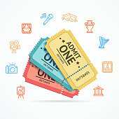 Museum and Theater Tickets Set. Vector