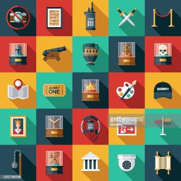 illustrazioni stock, clip art, cartoni animati e icone di tendenza di set di icone del museo - arts culture and entertainment