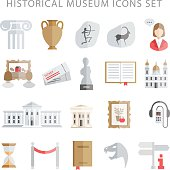 museum icons vector set