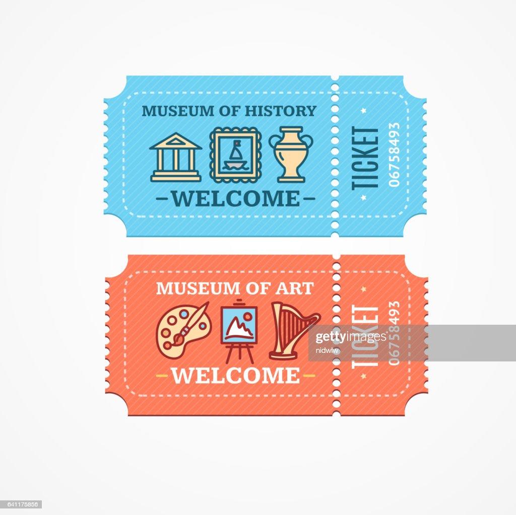 Museum Tickets Set. Vector