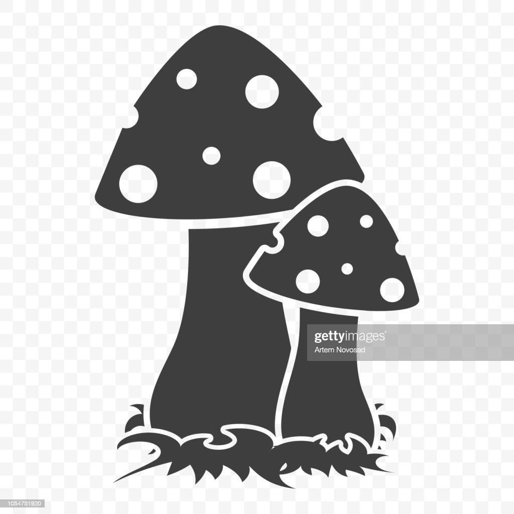 Mushroom icon. Vector illustration on a transparent background.