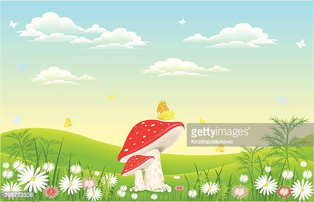 mushroom in nature - fantasy stock illustrations