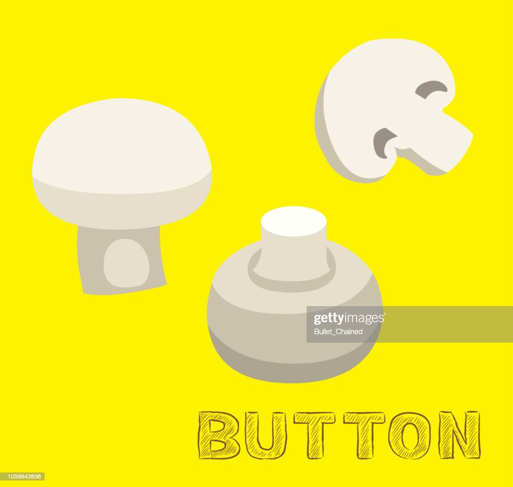 Mushroom Type Button Vector Illustration