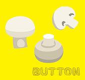 Mushroom Type Button Vector Illustration