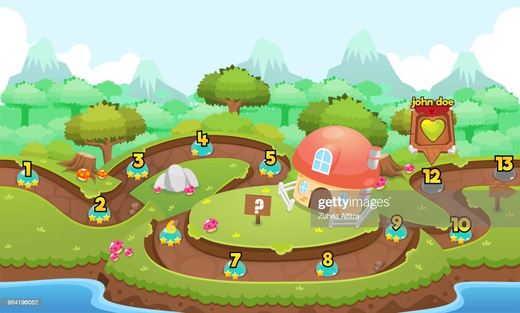 Mushroom Village Game Level Map