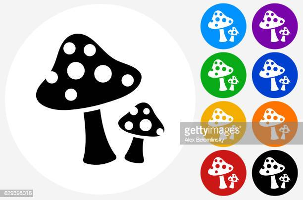 mushrooms icon on flat color circle buttons - edible mushroom stock illustrations, clip art, cartoons, & icons
