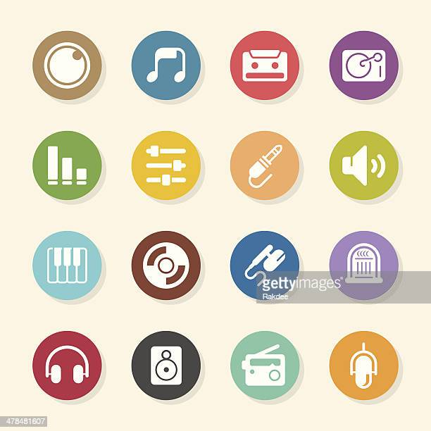 music and audio icons - color circle series - computer speaker stock illustrations, clip art, cartoons, & icons