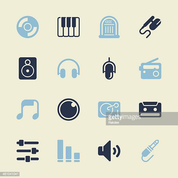music and audio icons - color series | eps10 - volume knob stock illustrations, clip art, cartoons, & icons