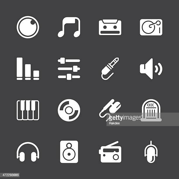 music and audio icons - white series | eps10 - volume knob stock illustrations, clip art, cartoons, & icons