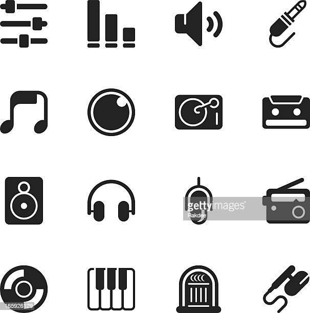 music and audio silhouette icons - audio equipment stock illustrations, clip art, cartoons, & icons