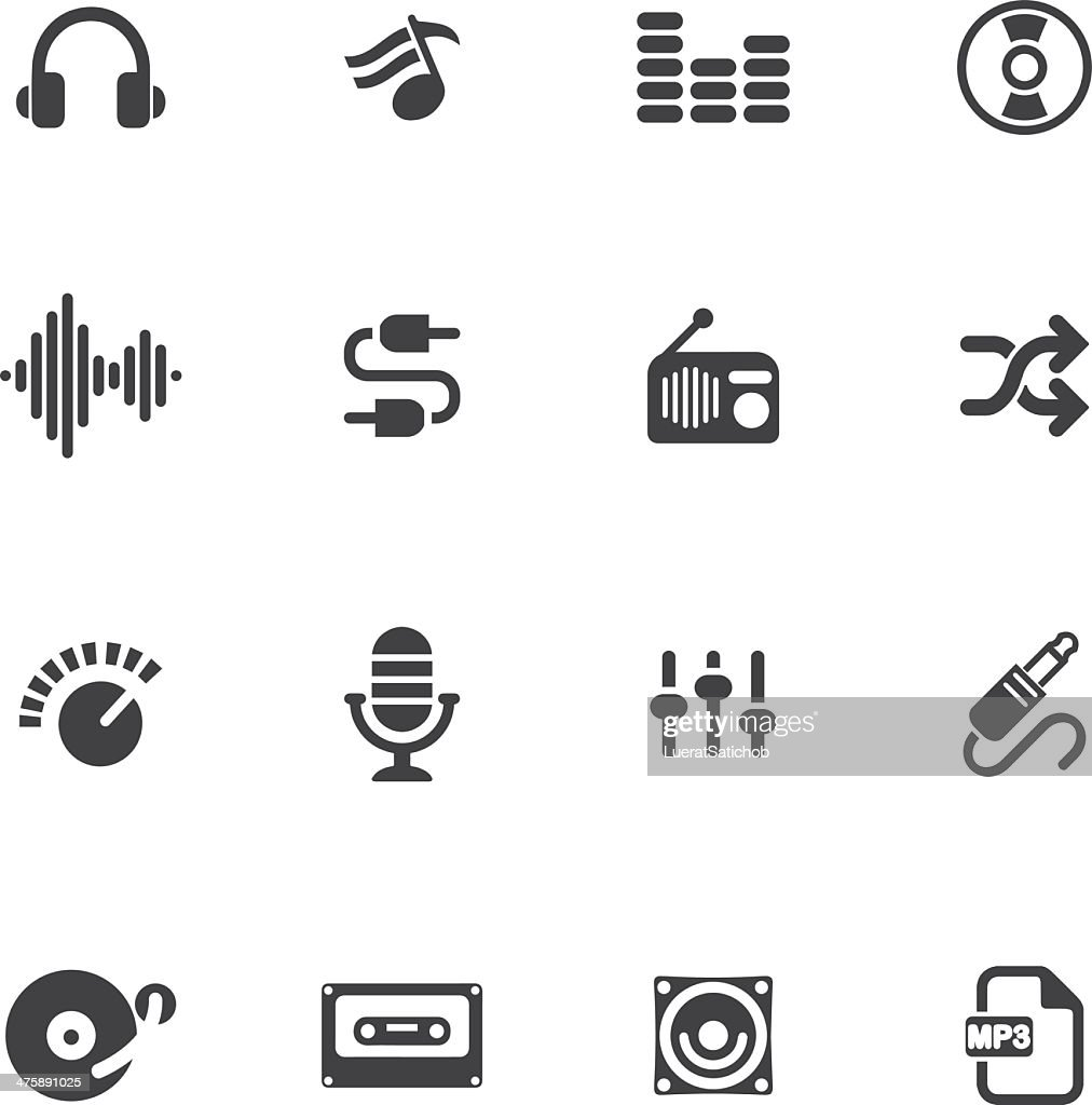 Music and Audio Silhouette icons : Stock Illustration