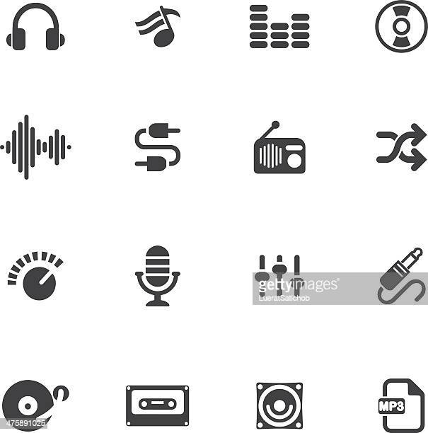 music and audio silhouette icons - cable stock illustrations, clip art, cartoons, & icons