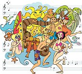 Music and Dance Party on the Beach Doodle