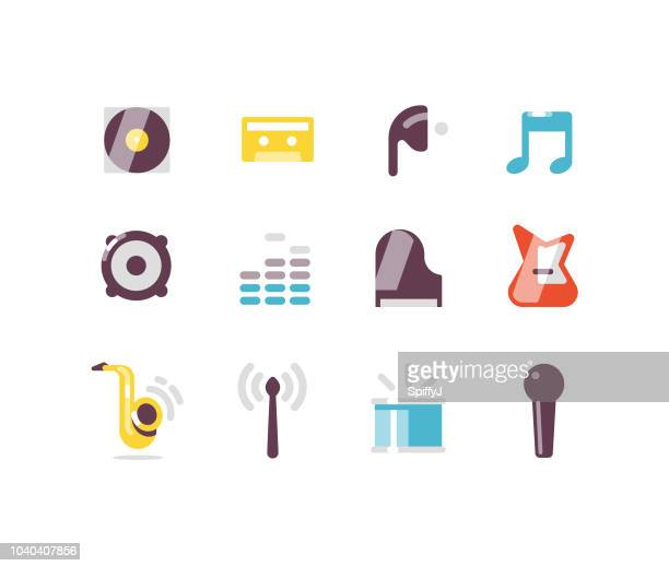 music and instruments flat icons - volume unit meter stock illustrations, clip art, cartoons, & icons