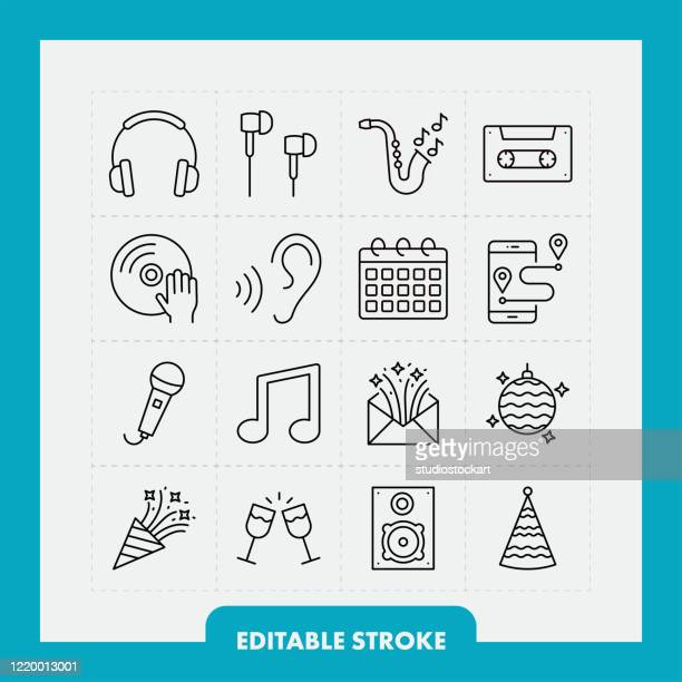 music and party line icon set. editable stroke - headphones stock illustrations