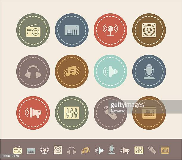 music and sound icons - computer speaker stock illustrations, clip art, cartoons, & icons
