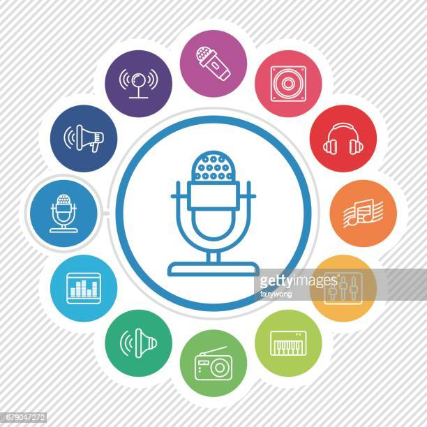 music and sound icons - podcasting stock illustrations, clip art, cartoons, & icons