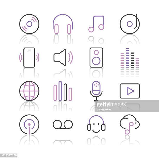 Music and Sounds Icons set 1 | Purple Line series