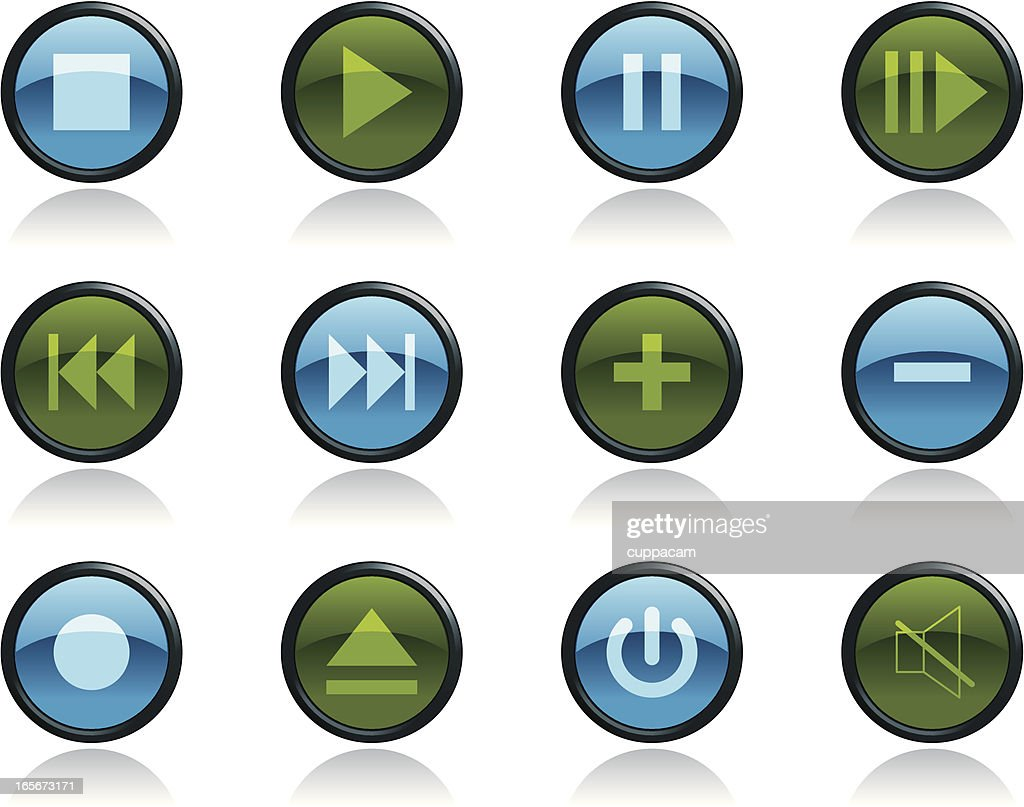 Music And Video Icon Symbols In Glossy Button Shape Vector Art