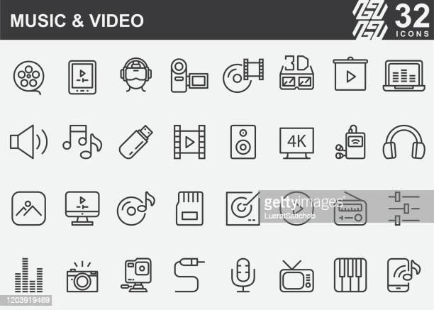 illustrazioni stock, clip art, cartoni animati e icone di tendenza di icone della linea musicale e video - gol di pareggio