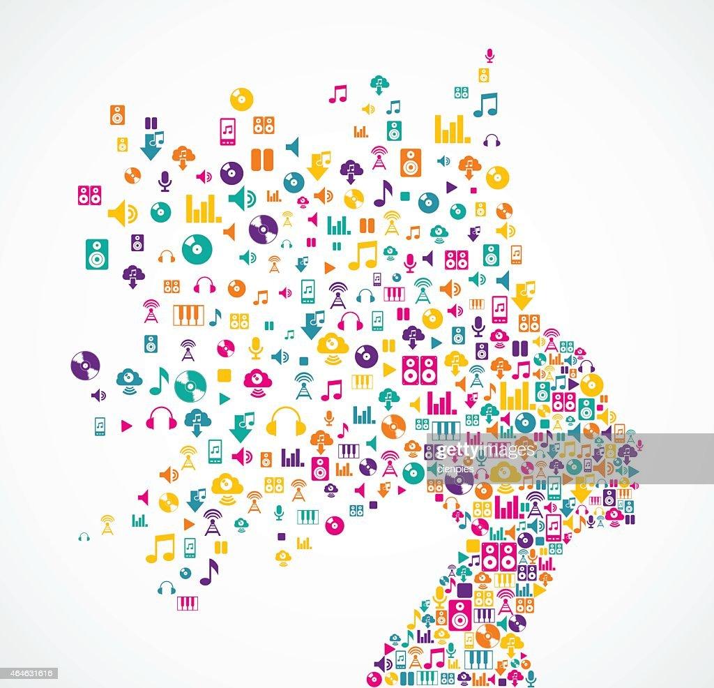 Music app icons splash Woman head