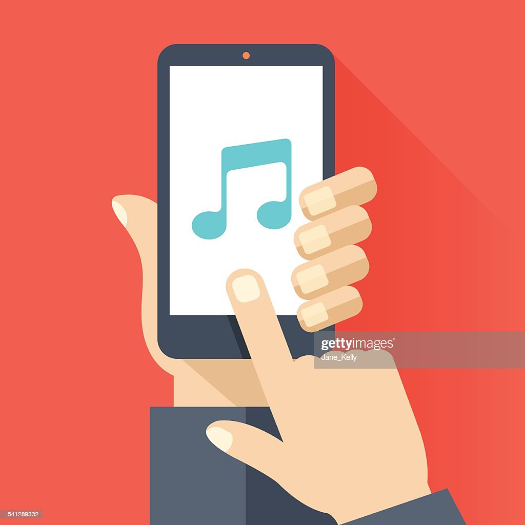 Music app on smartphone screen. Music streaming service. Vector illustration