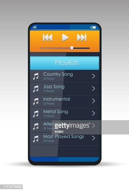 スマートフォンの音楽アプリ - ipod点のイラスト素材/クリップアート素材/マンガ素材/アイコン素材