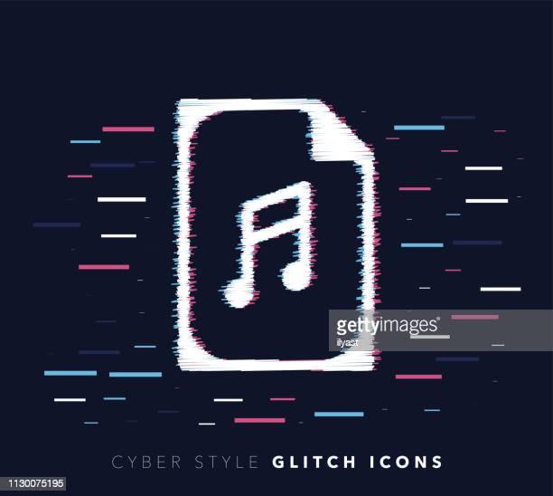 Music Archive Glitch Effect Vector Icon Illustration