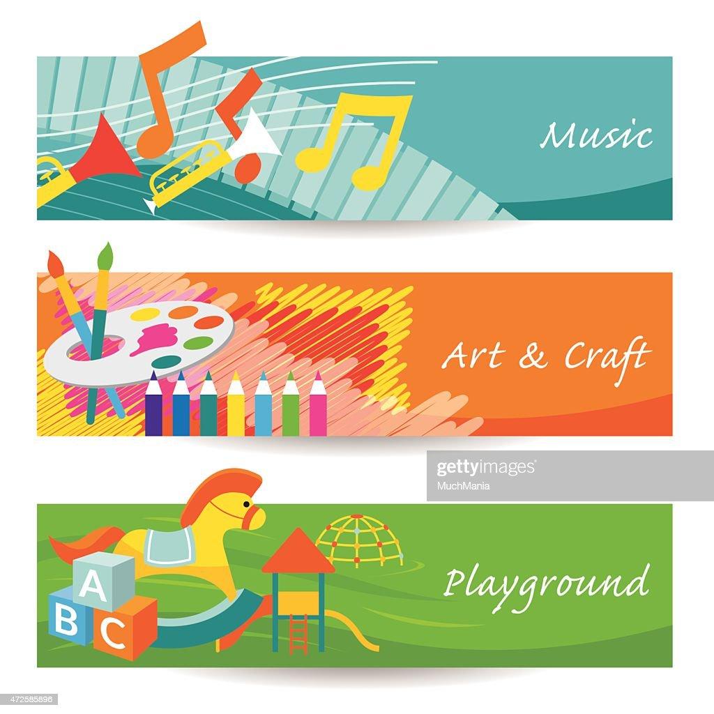 Music, Art, Playground for Kindergarten Banner