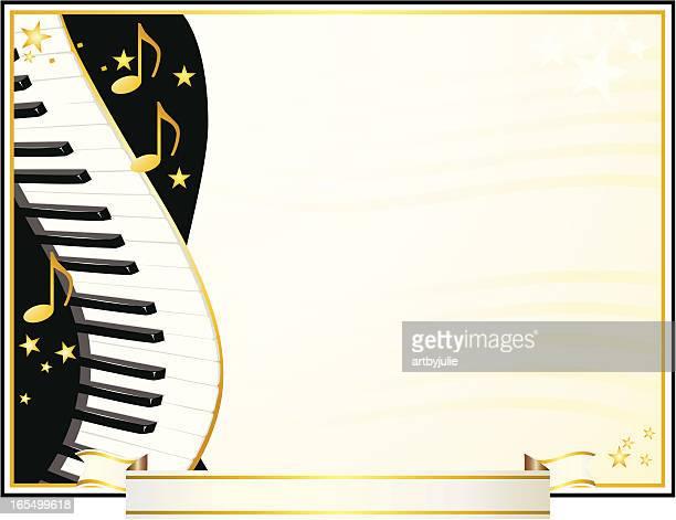 ilustraciones, imágenes clip art, dibujos animados e iconos de stock de certificado de premios de música para piano/teclado - tecla de piano