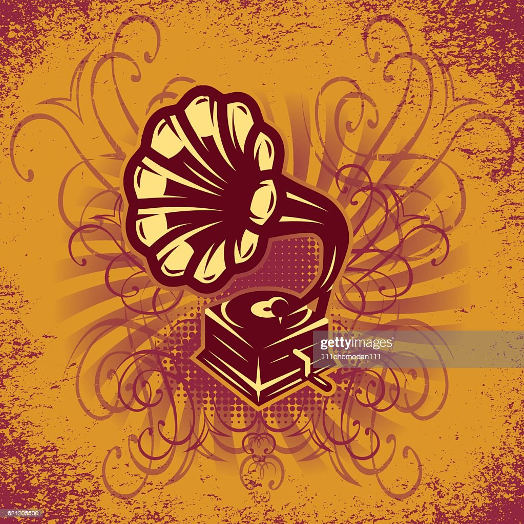 music background for the cover or party posters with gramophone
