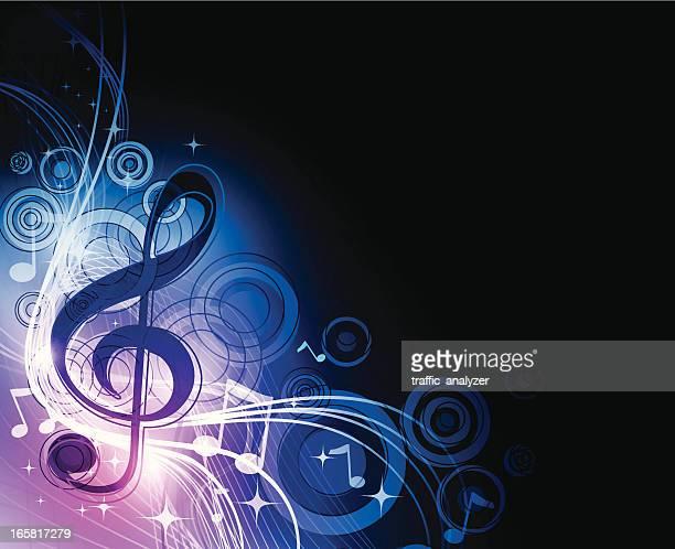 ilustraciones, imágenes clip art, dibujos animados e iconos de stock de música de fondo - treble clef