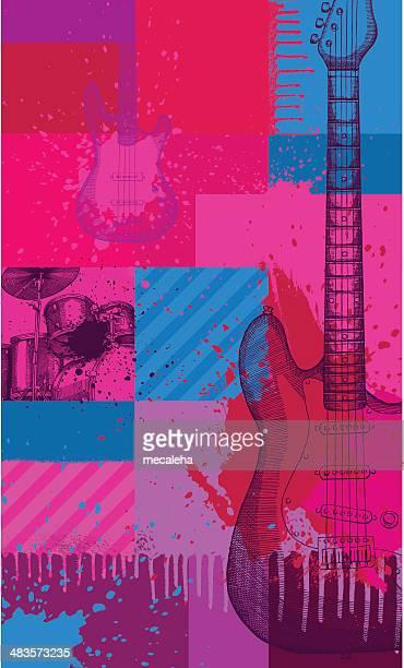ilustraciones, imágenes clip art, dibujos animados e iconos de stock de música de fondo - bajo eléctrico