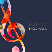 Music background with colorful G-clef
