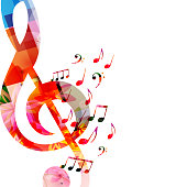 Music background with colorful music notes and G-clef