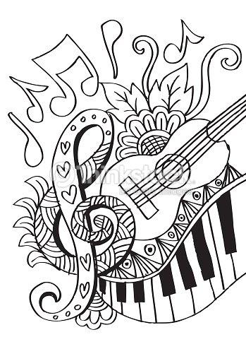 hintergrundmusik mit gitarre doodlestil vektorgrafik
