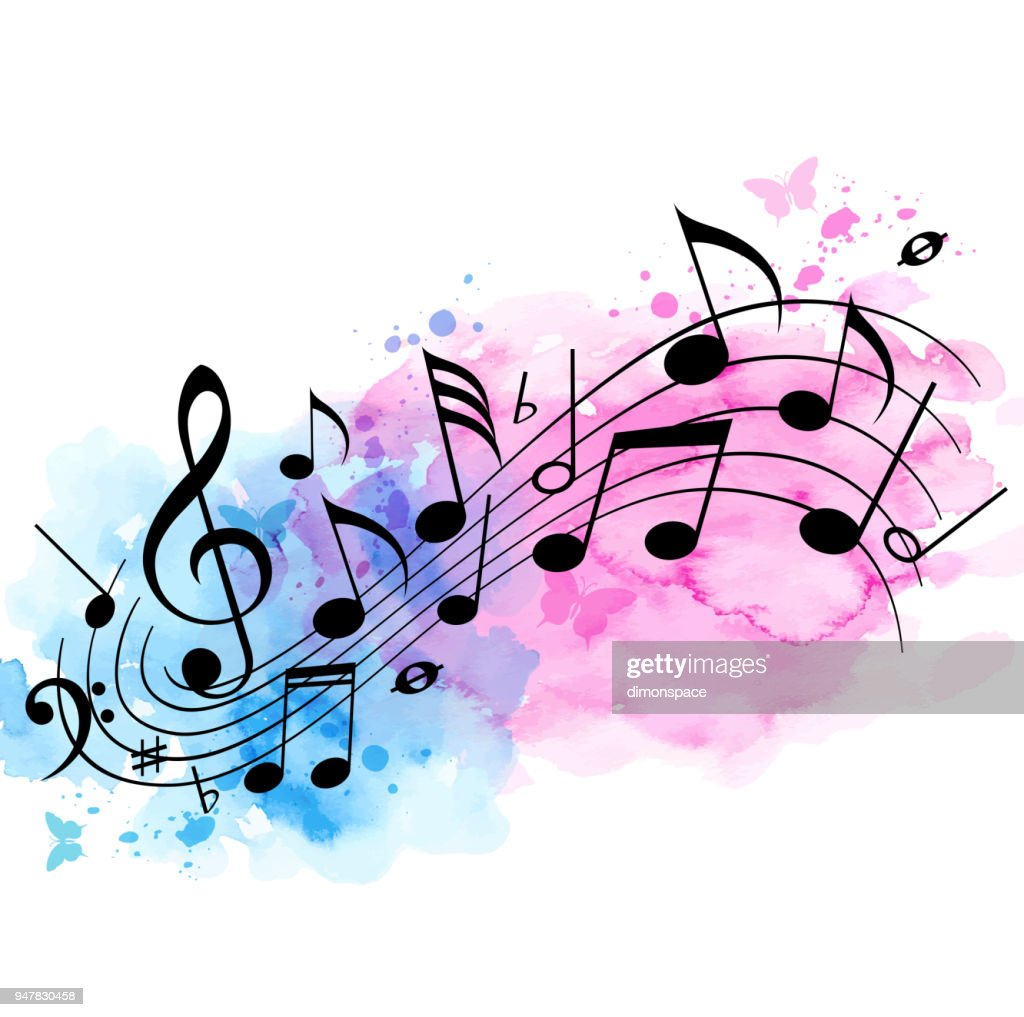 Music background with notes and watercolor texture