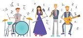 Music band playing the song. Drummer, singer, guitarist and flutist. Vector illustration, isolated on white background.