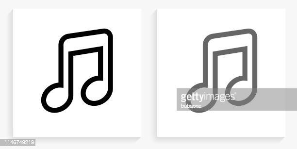 music black and white square icon - music symbols stock illustrations, clip art, cartoons, & icons