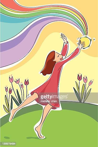 ilustrações de stock, clip art, desenhos animados e ícones de traz de música arco-íris - pandeiro