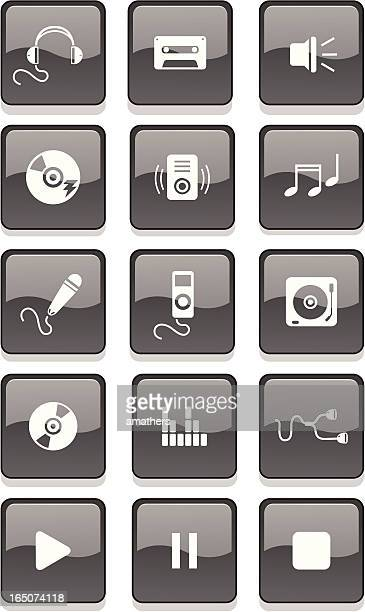 music buttons - volume unit meter stock illustrations, clip art, cartoons, & icons
