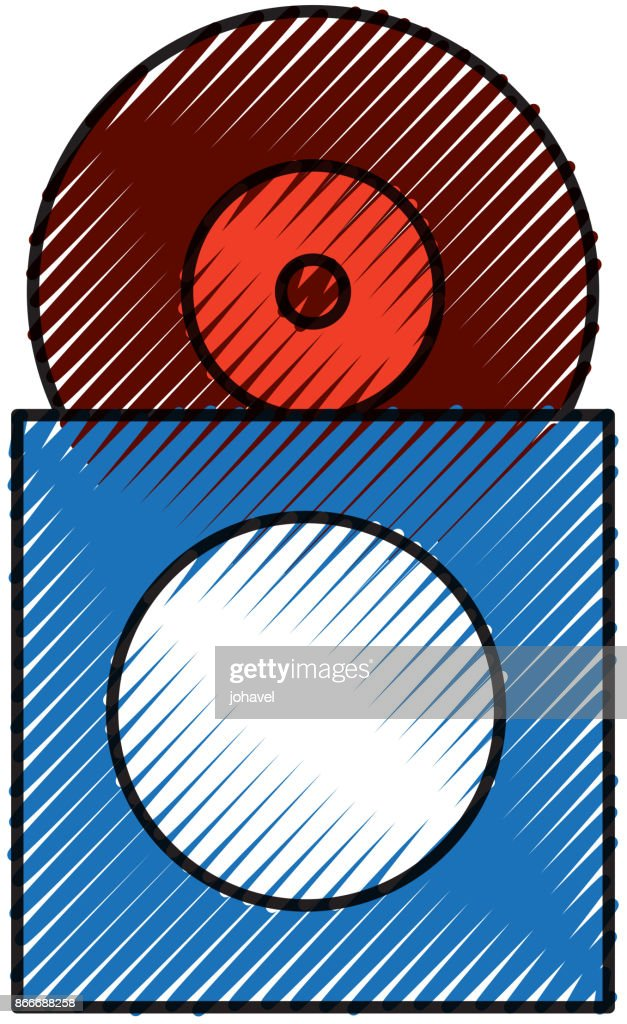 music collection album cover with vinyl record disk in papercase