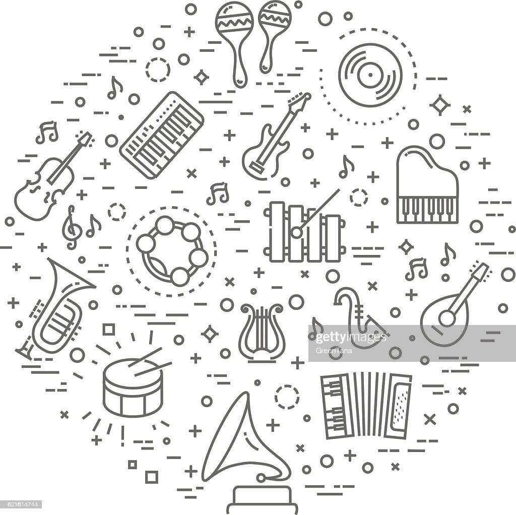 music concept illustration, thin line, flat design