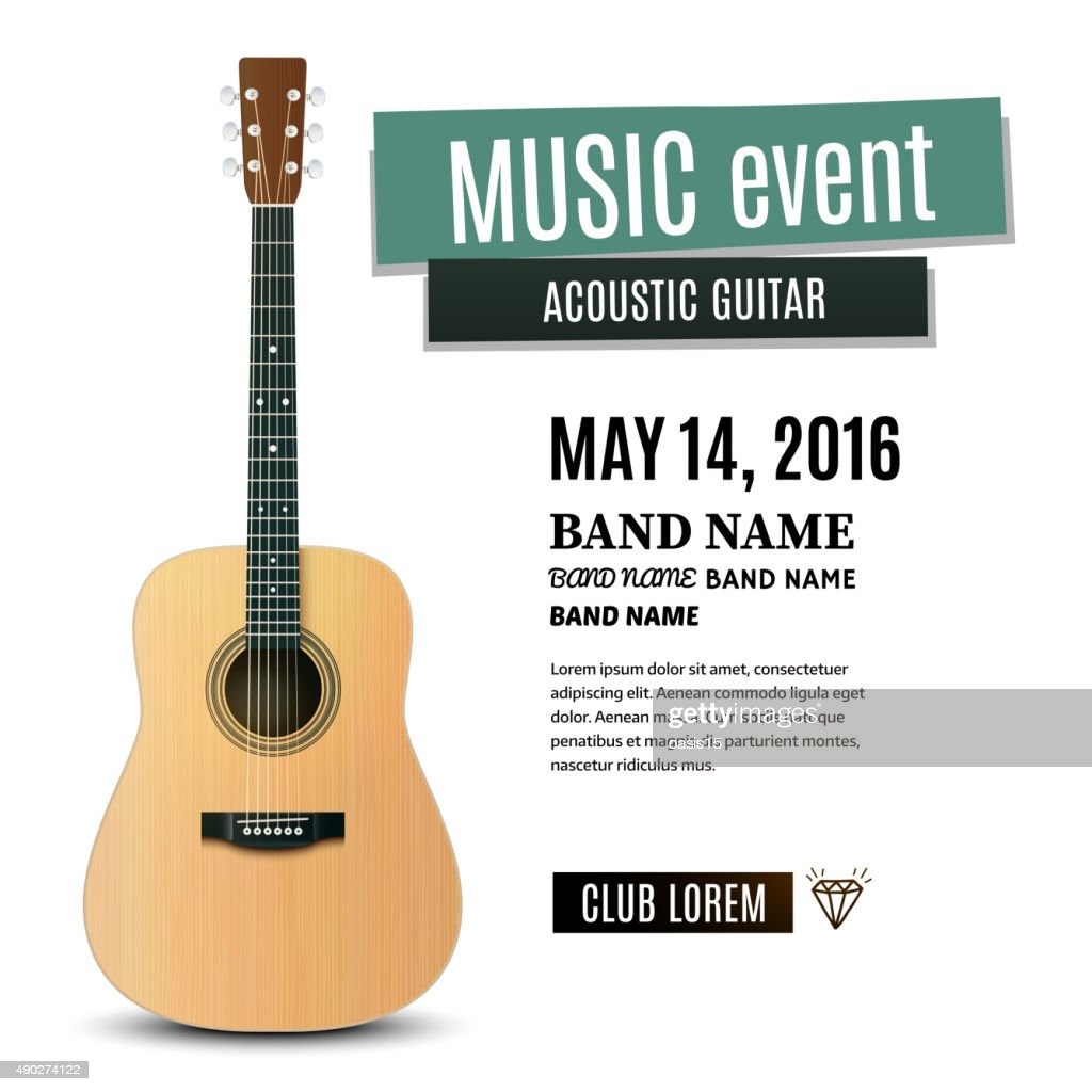Music concert poster with acoustic guitar. Vector illustration